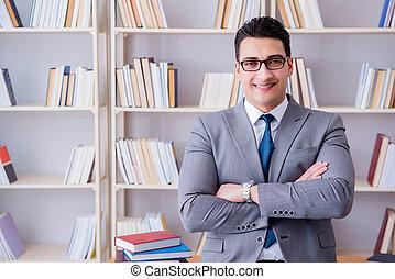 zakelijk, wet, student, werkende , studerend , in, de, bibliotheek