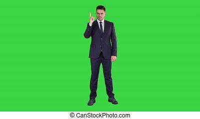 zakelijk, wijzende, chroma, accent, op, scherm, groene, key., vervaardiging, man, vinger