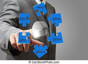 zakelijk, wijzende, het oplossen, oplossing, hand, diagram, probleem, man
