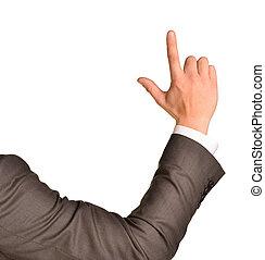 zakelijk, wijzende, ruimte, op, vinger, leeg, kopie, man