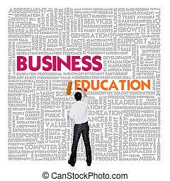 zakelijk, woord, wolk, voor, zakelijk, en, financiën, concept, zakelijk, opleiding