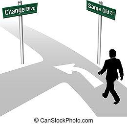 zakelijk, zelfde, beslissen, of, veranderen, man