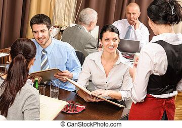 zakelijke lunch, waitress, nemen, order, maaltijd,...