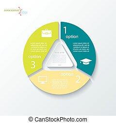 zaken 3, segments., ontwerp, concept, driehoek