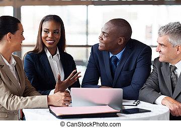 zaken partners, hebben, vergadering