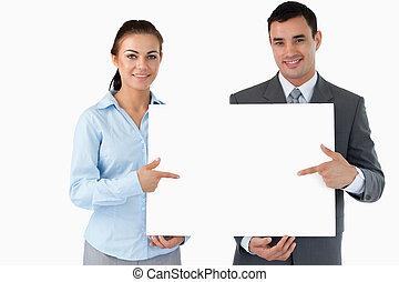 zaken partners, het voorstellen, samen, meldingsbord