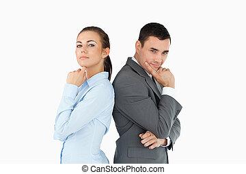 zaken partners, terug-naar-terug, in, gedachten