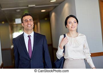 zakenkantoor, hotel corridor, team, of