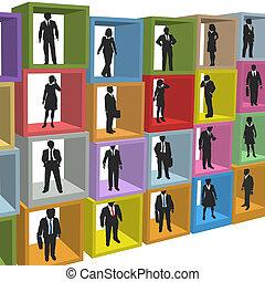 zakenkantoor, mensen, dozen, cel, middelen