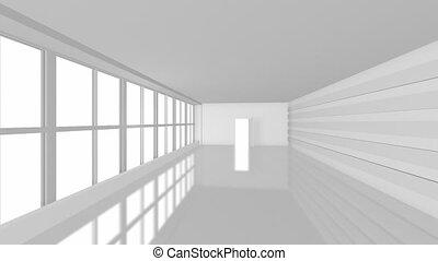 zakenkantoor, met, groot, vensters