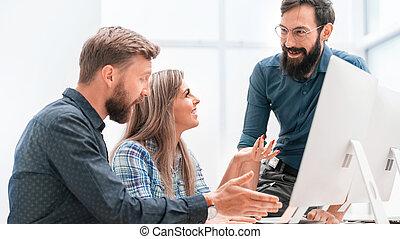 zakenkantoor, vergadering, plan, team, het bespreken