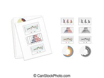zakenkleur, bovenzijde, illustratie, papier, vector, graphics., overzicht.