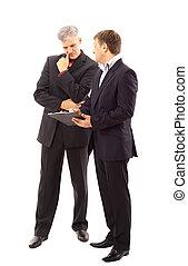 zakenlieden, het bespreken, vrijstaand, hoog, -, twee, afbeelding, resolution., studio