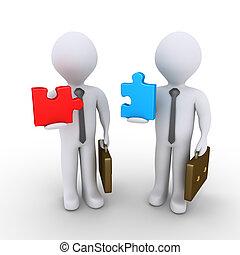 zakenlieden, over, om te, toevoegen, puzzelstukjes