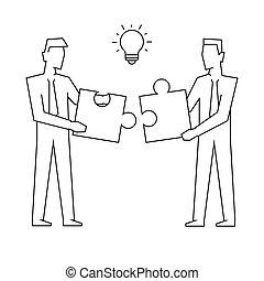 zakenlieden, raadsel, witte , toevoegen, illustratie, twee, achtergrond, lineair