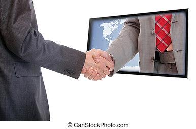 zakenlieden, schuddende handen
