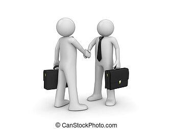 zakenlieden, twee, handshaking