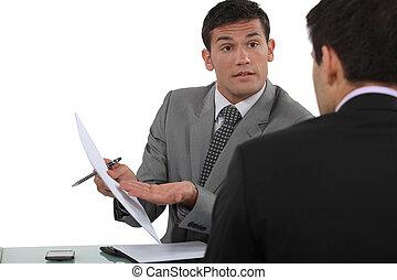 zakenlieden, wisselen, aanzichten, gedurende, vergadering