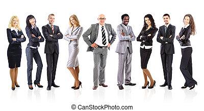 zakenlieden, zakelijk, op, achtergrond, jonge, leider, team, staand, zijn, gevormde, witte