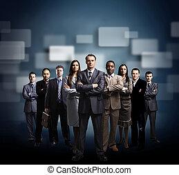 zakenlieden, zakelijk, op, achtergrond, jonge, team, staand, donker, gevormde