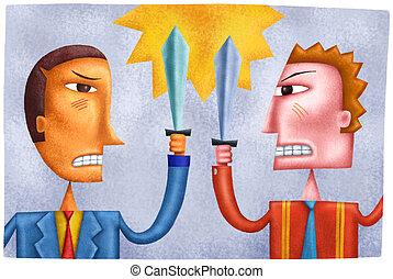 zakenlieden, zwaarden, het botsen, vecht, twee