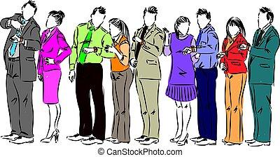 zakenlui, bediening in de lijn, vector, illustratie