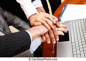 zakenlui, beeld, elke, bovenzijde, handen, andere.