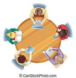 zakenlui, bovenzijde, tafel, ronde, aanzicht