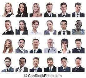 zakenlui, collage, portretten, vrijstaand, witte