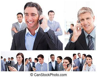zakenlui, collage, telefoons, beweeglijk, gebruik