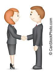 zakenlui, doen, handdruk
