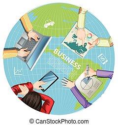 zakenlui, doorwerken, computers
