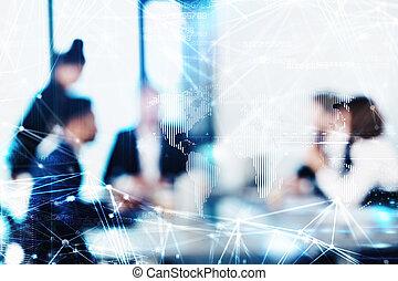 zakenlui, effect, benevelde achtergrond, futuristisch