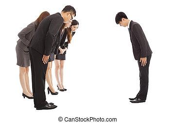 zakenlui, en, baas, met, boog, en, schaafwond