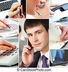 zakenlui, en, voorwerpen