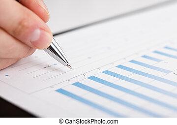 zakenlui, gebruiken, pen, te piek, grafieken, te analyseren, bedrijf, data