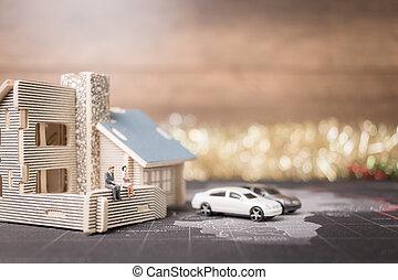 zakenlui, geld, concept., muntjes, miniatuur, groei, zittende , home., investering