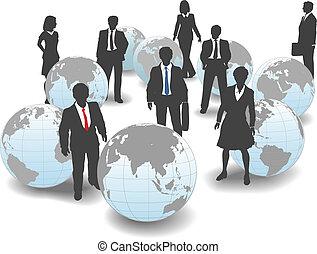 zakenlui, globaal, arbeidskrachten, team, wereld