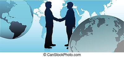 zakenlui, globaal, communiceren, schakel, wereld