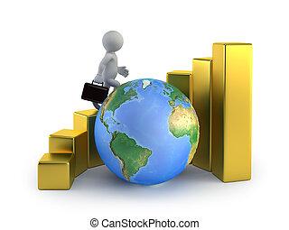 zakenlui, globaal, -, groei, kleine, 3d