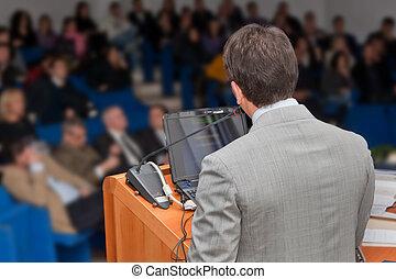 zakenlui, groep, op, vergadering, cursus, presentatie