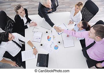 zakenlui, groep, op, vergadering