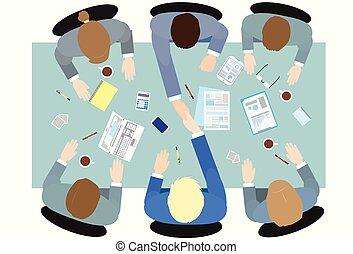 zakenlui, handdruk, bovenzijde, hoek, aanzicht