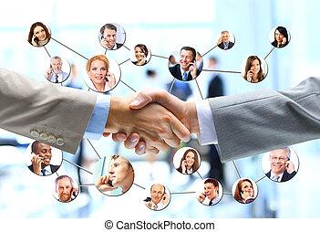 zakenlui, handdruk, met, bedrijf, team, in, achtergrond