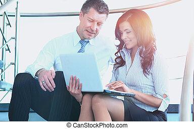 zakenlui, hebben, vergadering