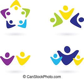 zakenlui, iconen, vrijstaand, gemeenschap, witte