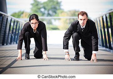 zakenlui, in, competitie
