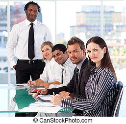 zakenlui, in, een, vergadering