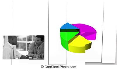 zakenlui, kijken naar, diagrammen
