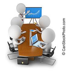 zakenlui, -, kleine, vergadering, 3d